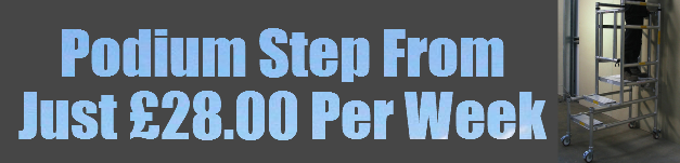 Podium steps hire prices only 28 per week.